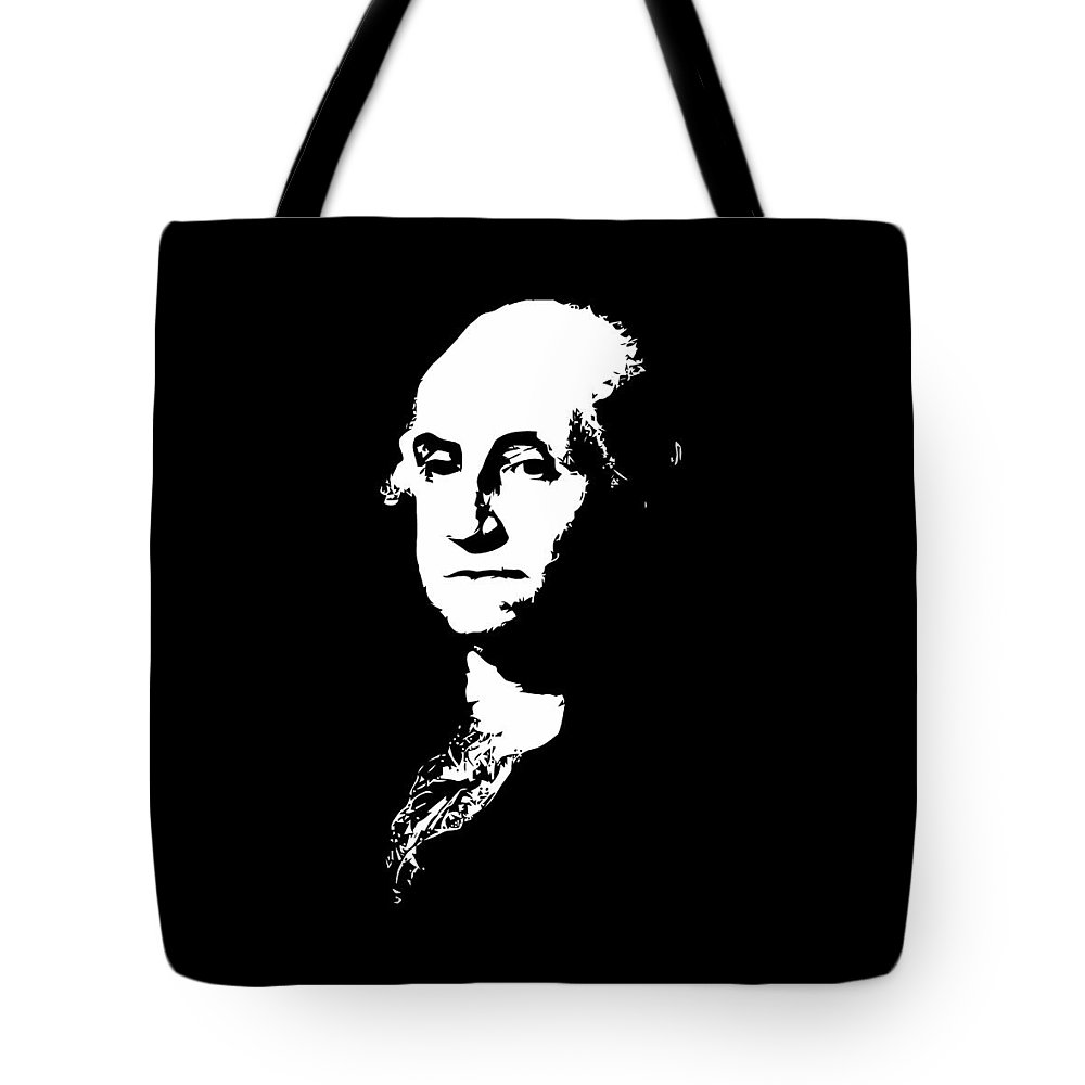 George Washington Tote Bag featuring the digital art George Washington Black And White by War Is Hell Store