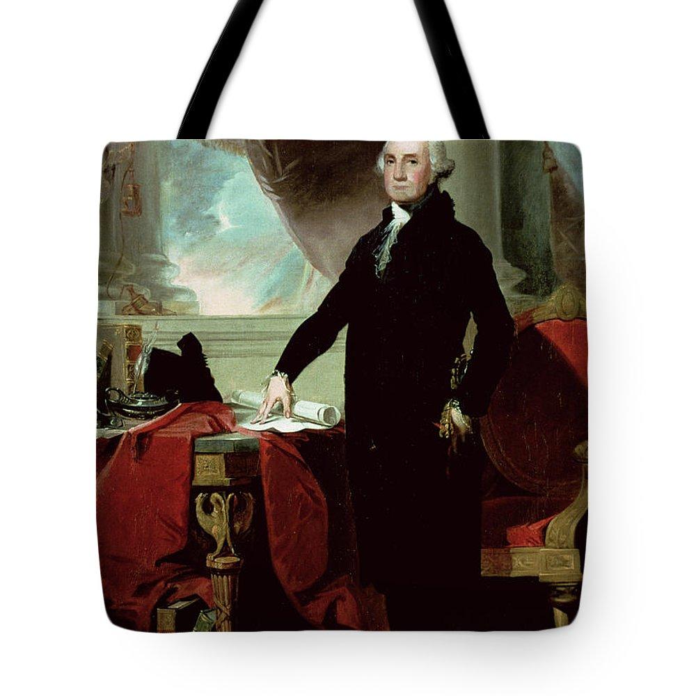 George Washington (1732-99) (colour Litho) By Gilbert Stuart (1755-1828) Tote Bag featuring the painting George Washington by Gilbert Stuart