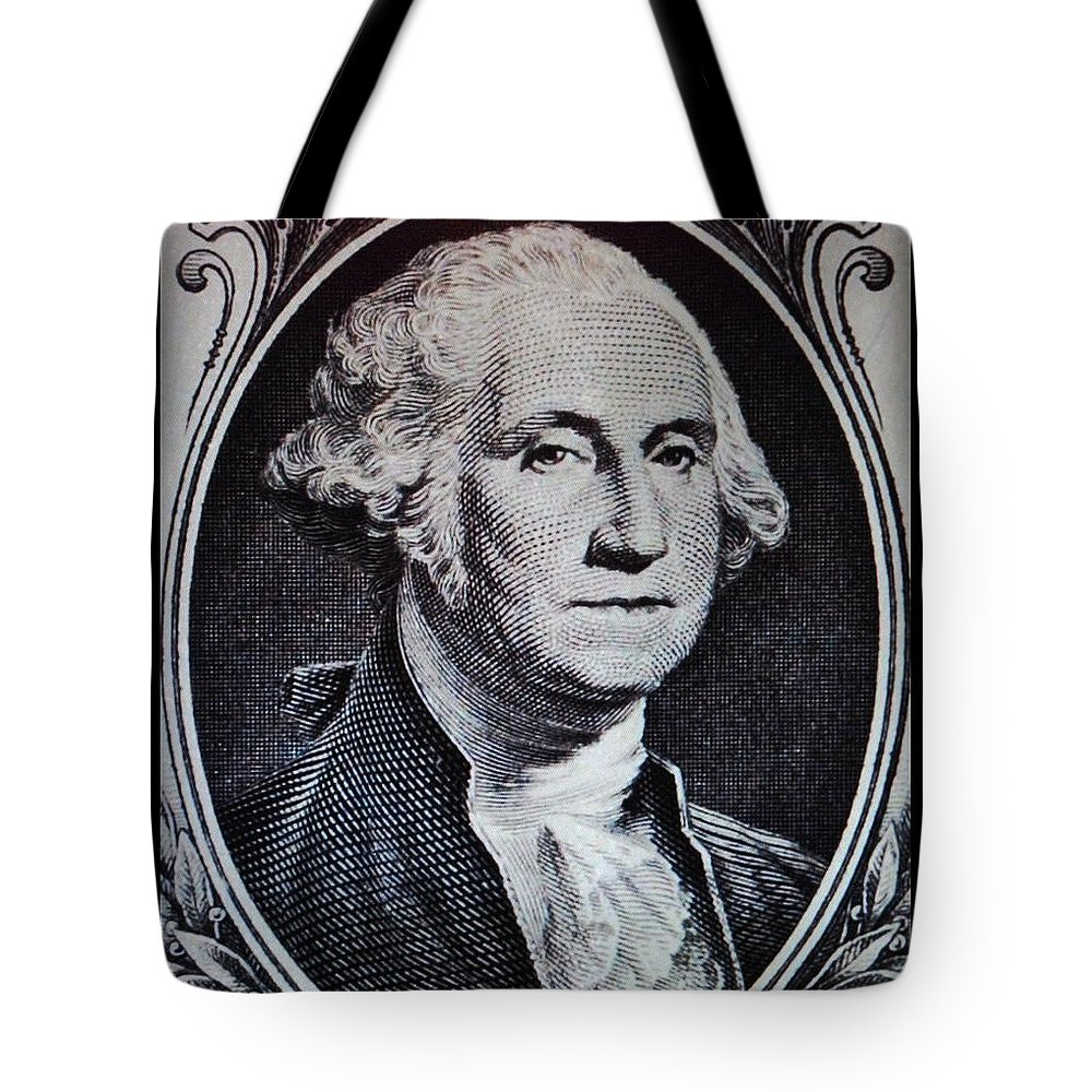 Black And White Tote Bag featuring the photograph George Washington by Rob Hans