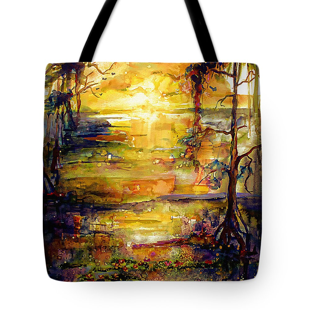 Landscape Tote Bag featuring the painting Georgia Okefenokee Land of Trembling Earth by Ginette Callaway