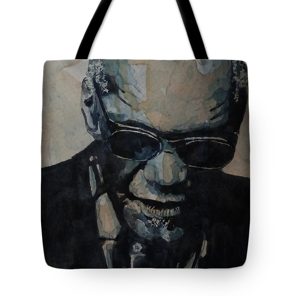 Ray Charles Tote Bag featuring the painting Georgia On My Mind - Ray Charles by Paul Lovering