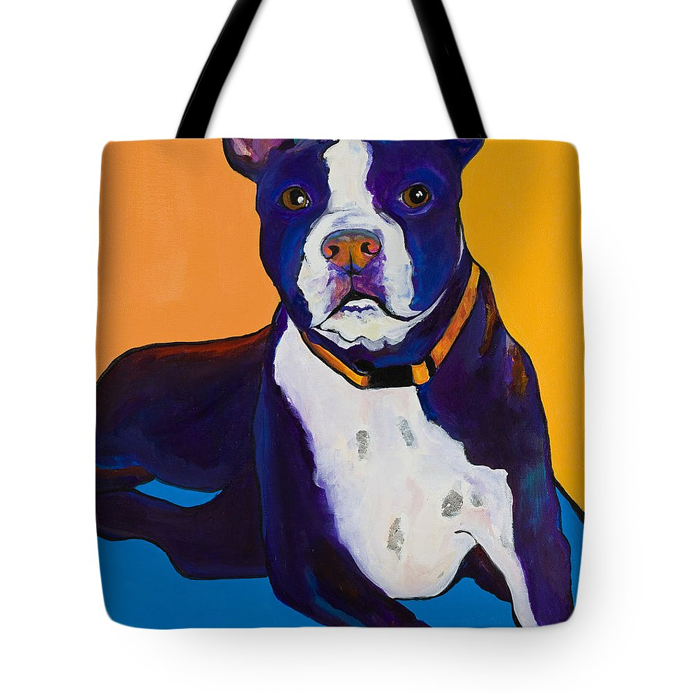 Boston Terrier Tote Bag featuring the painting Georgie by Pat Saunders-White