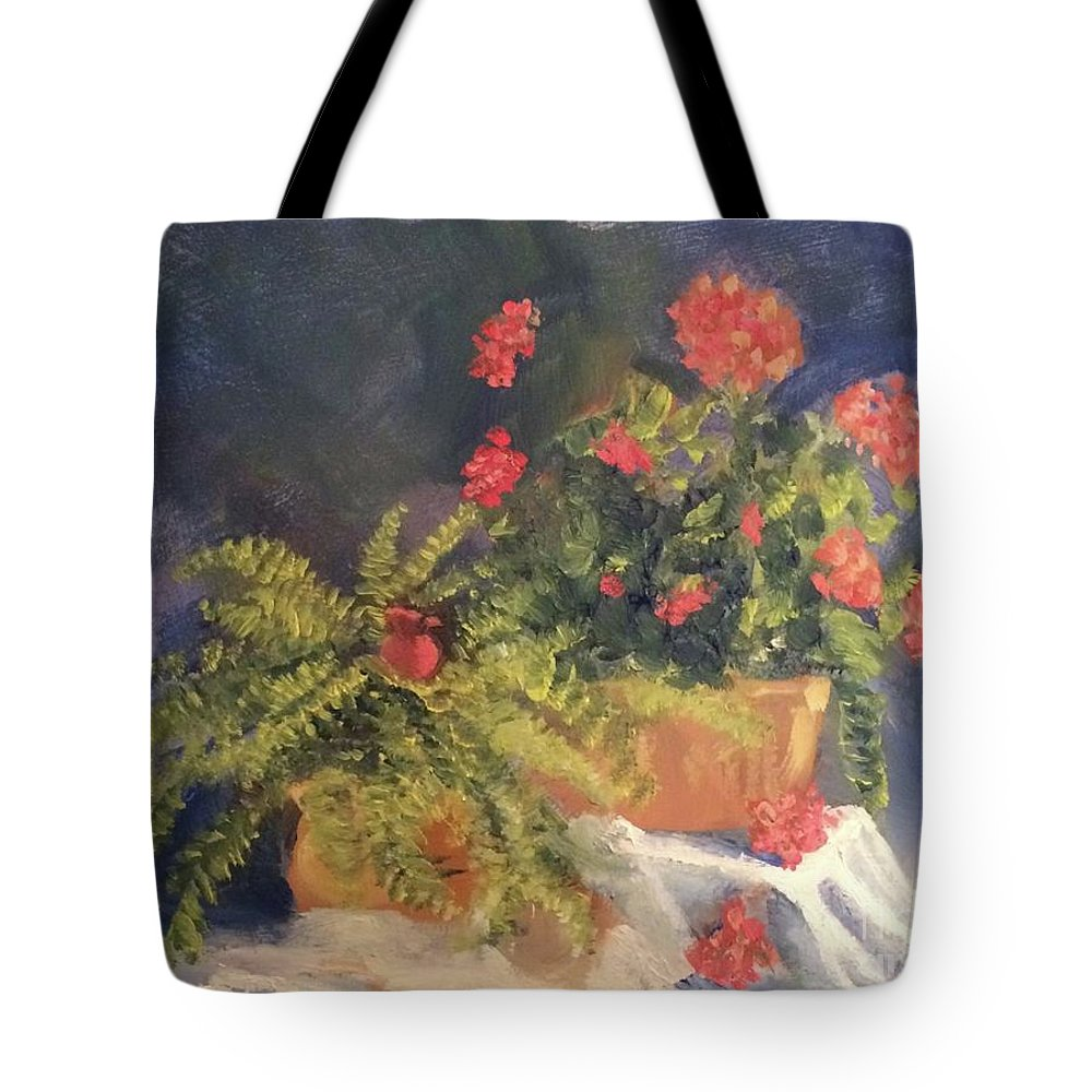 Flowers Tote Bag featuring the painting Geranium And Fern Still Life by Tina Swindell