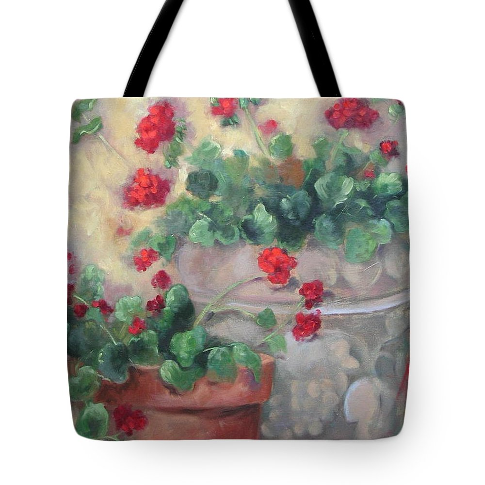 Geraniums Tote Bag featuring the painting Geraniums by Ginger Concepcion