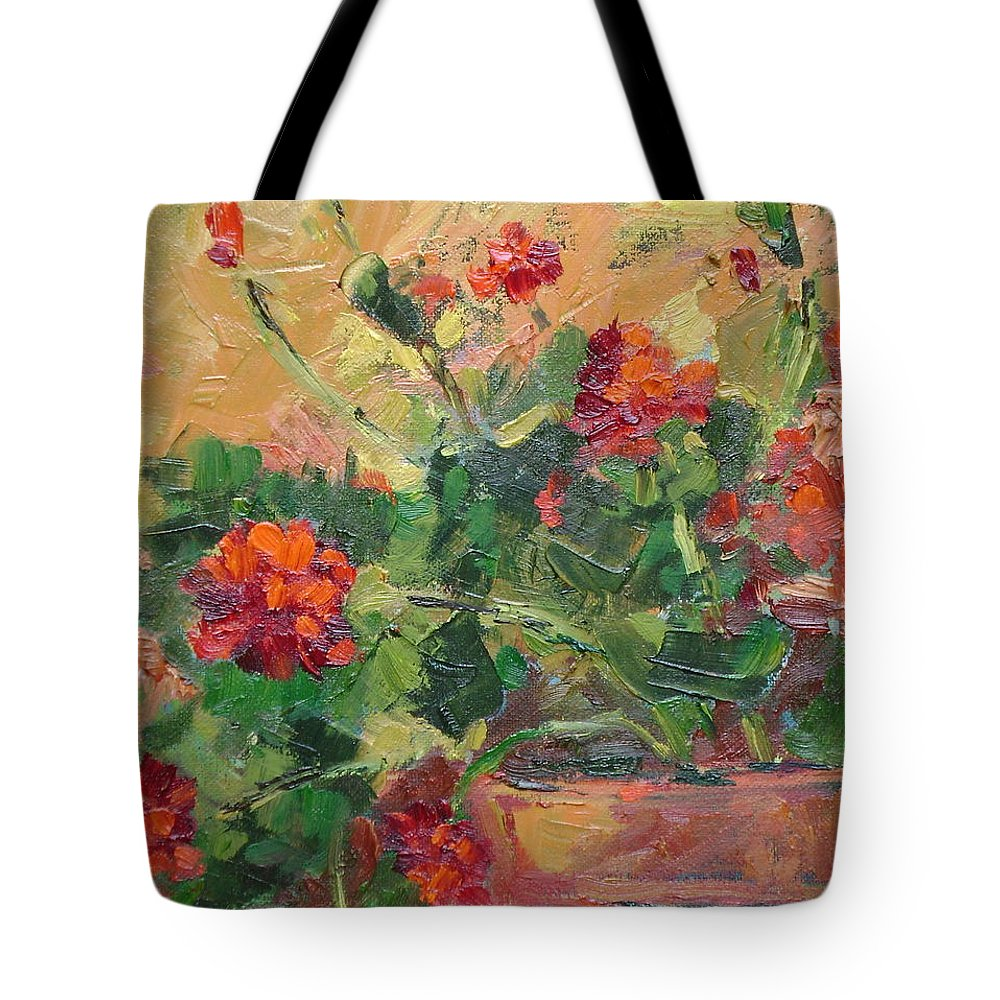 Geraniums Tote Bag featuring the painting Geraniums II by Ginger Concepcion