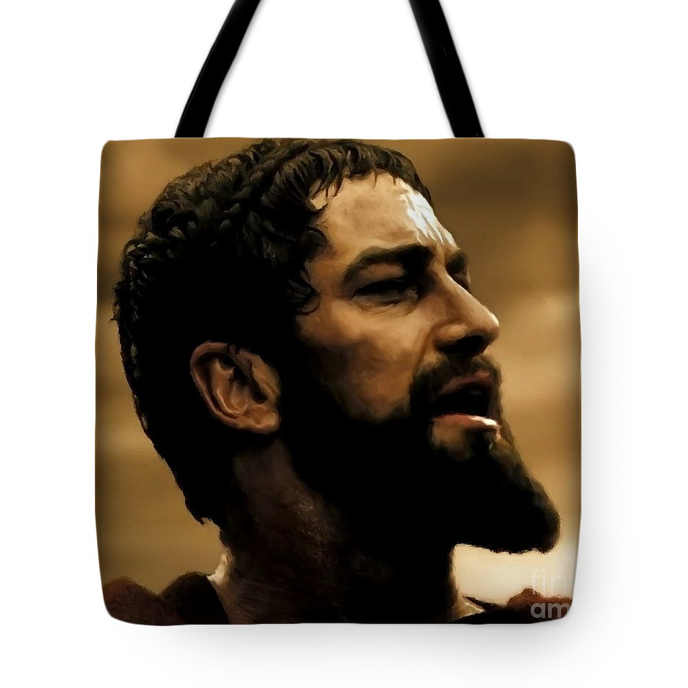 Gerard Butler Tote Bag featuring the digital art Gerard Butler In 300 by Carl Gouveia