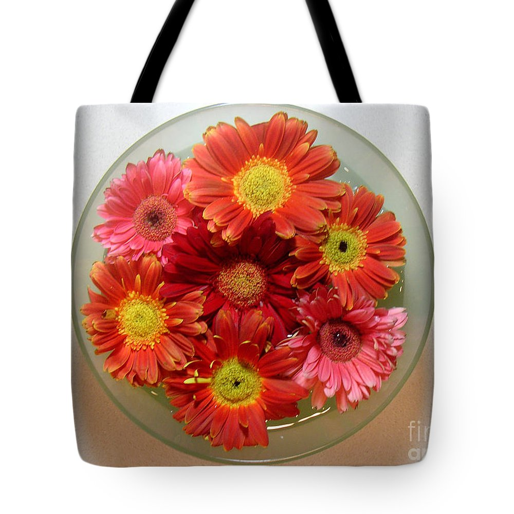 Nature Tote Bag featuring the photograph Gerbera Daisies - From Above by Lucyna A M Green