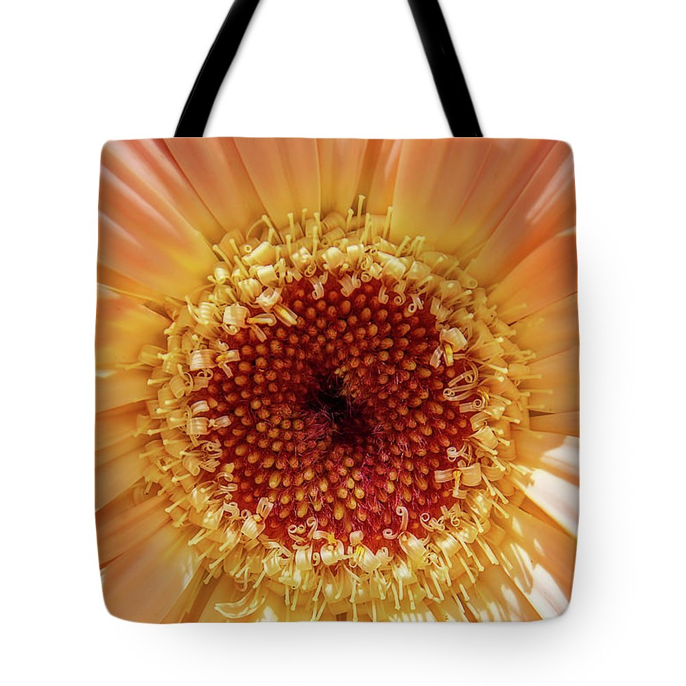 Photography Tote Bag featuring the photograph Gerbera Macro by Terry Davis