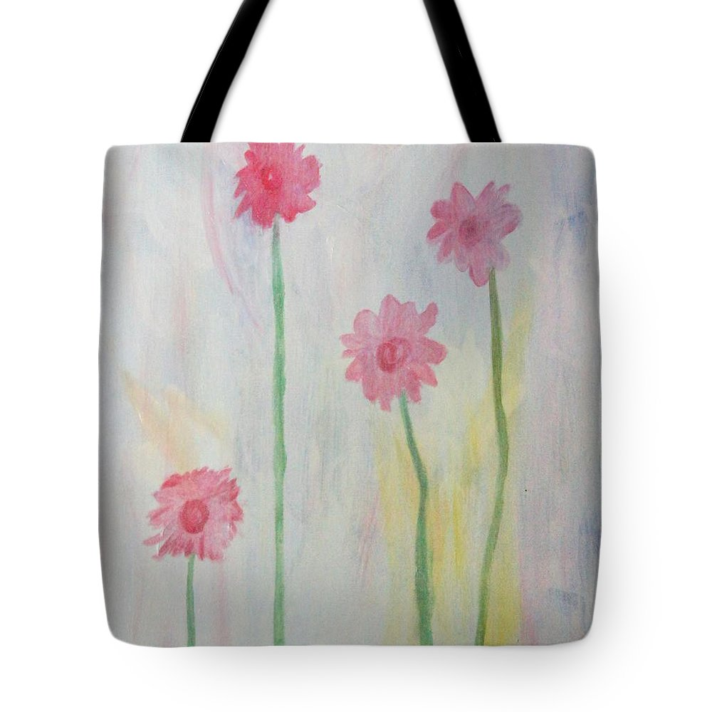 Flowers Tote Bag featuring the painting Gerberas by Kelly Dycavinu