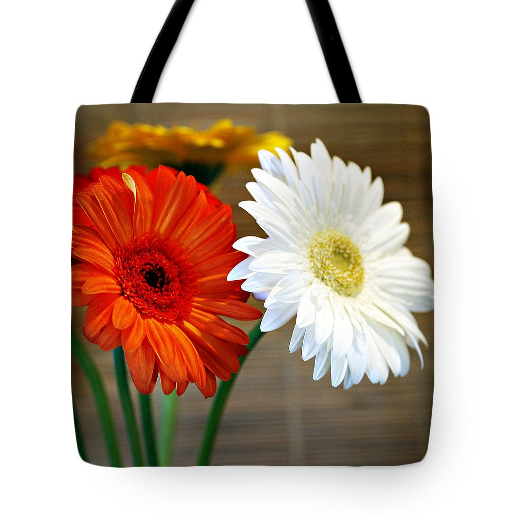 Flower Tote Bag featuring the photograph Gerbers by Marilyn Hunt