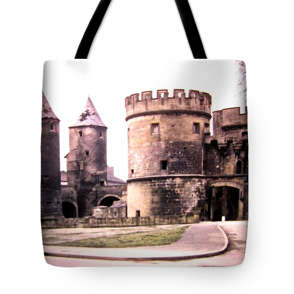 1955 Tote Bag featuring the photograph German Gate In Metz 1955 by Will Borden
