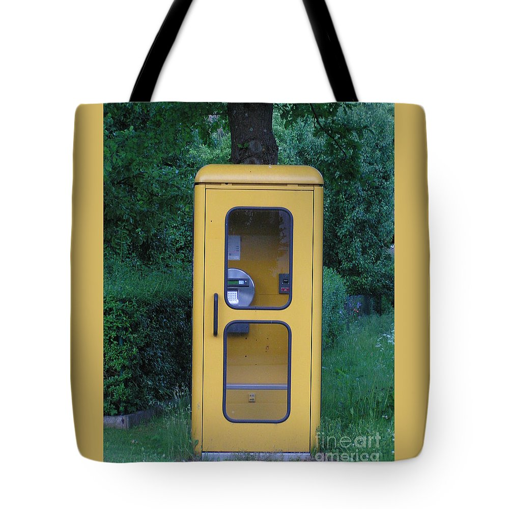 Telephone Booth Tote Bag featuring the photograph German Phone Booth by Karen Granado