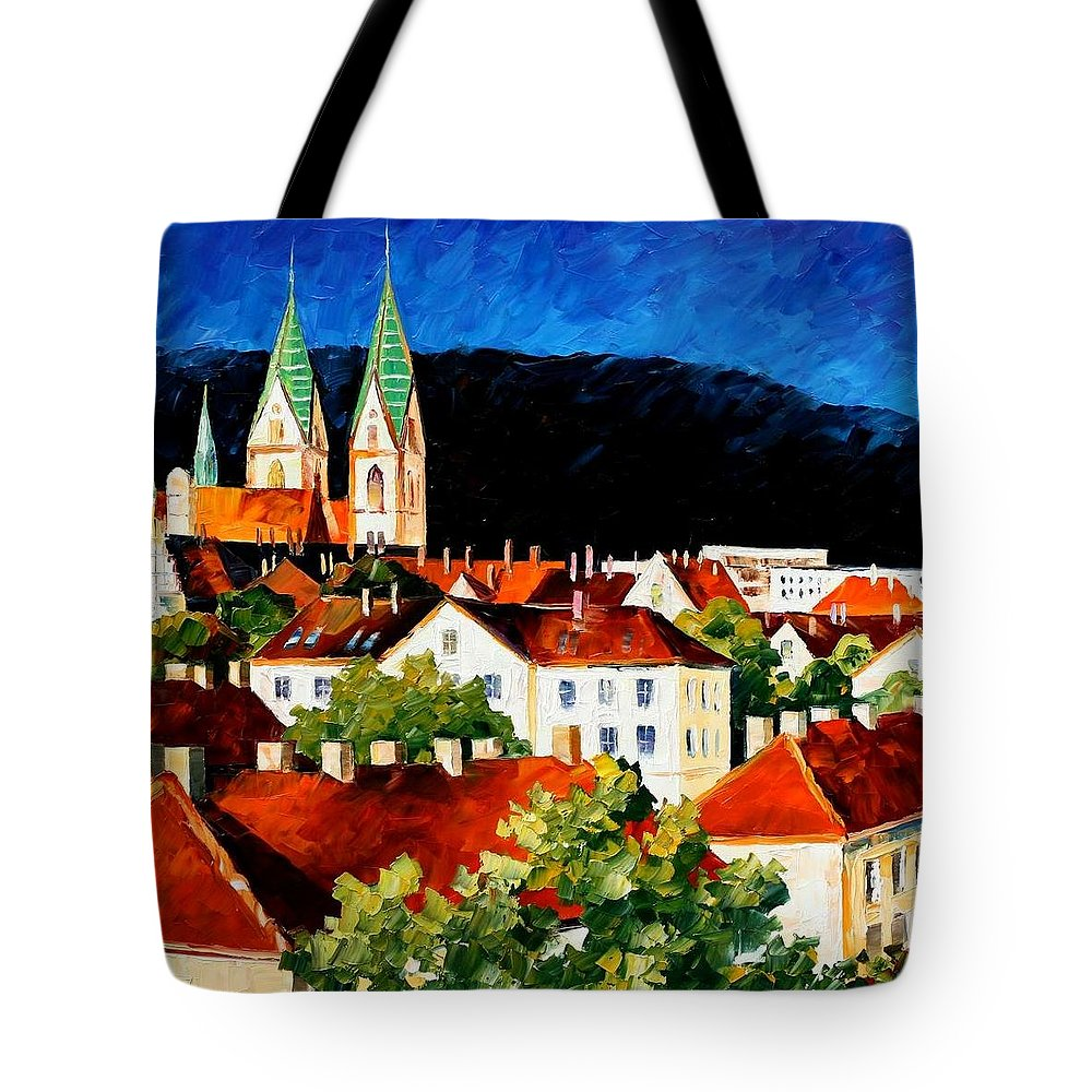 City Tote Bag featuring the painting Germany - Freiburg by Leonid Afremov