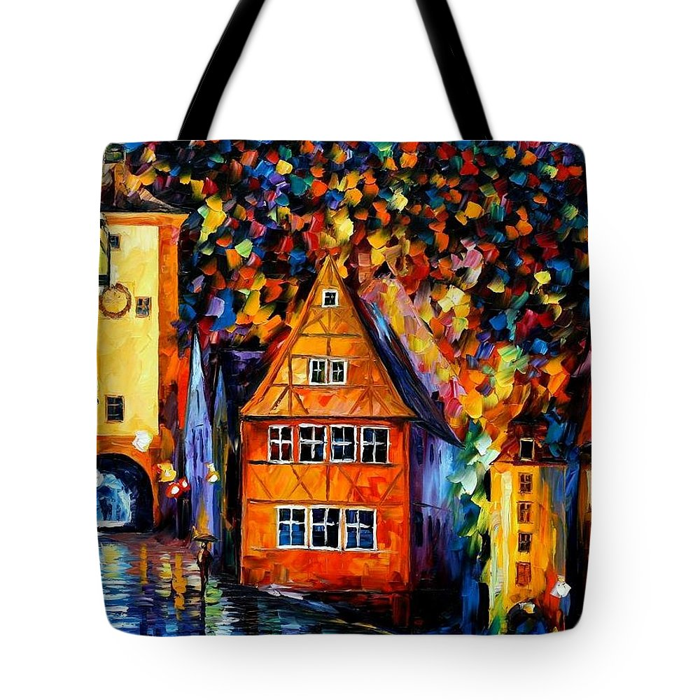 Afremov Tote Bag featuring the painting Germany - Medieval Rothenburg by Leonid Afremov