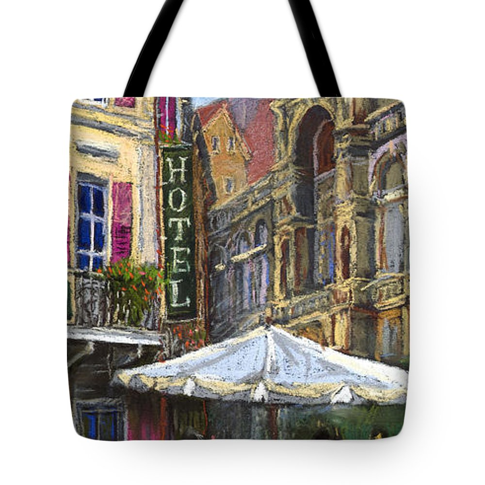 Pastel Tote Bag featuring the painting Germany Baden-baden 07 by Yuriy Shevchuk