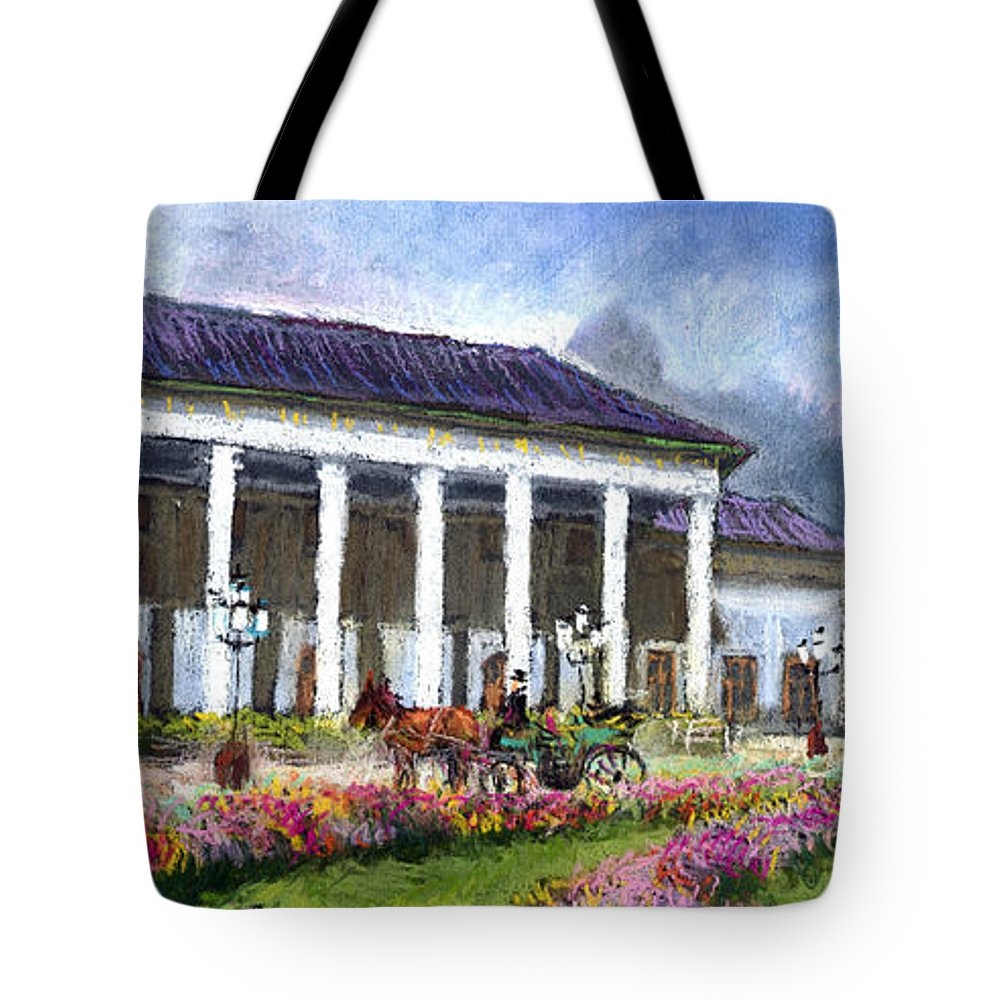 Pastel Tote Bag featuring the painting Germany Baden-baden Kurhaus Kasino by Yuriy Shevchuk