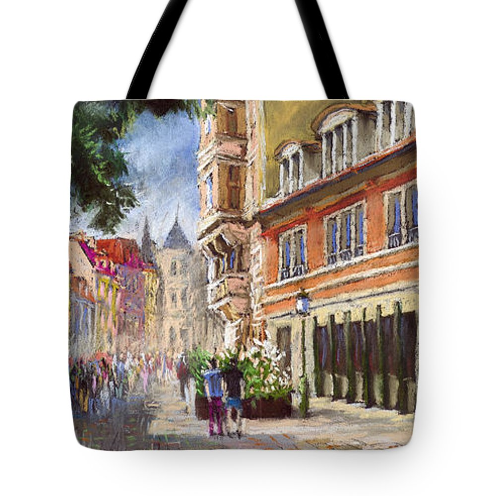 Pastel Tote Bag featuring the painting Germany Baden-baden Lange Str by Yuriy Shevchuk
