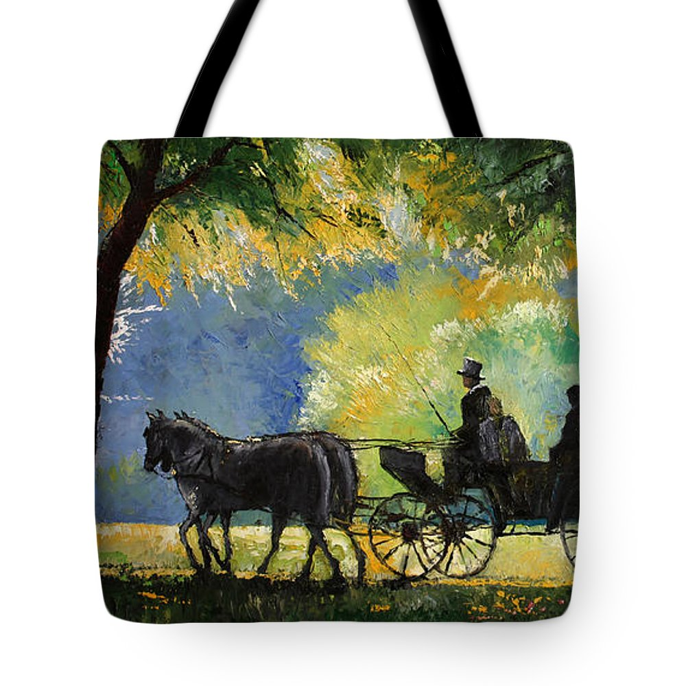 Oil Tote Bag featuring the painting Germany Baden-baden Lichtentaler Allee Spring by Yuriy Shevchuk