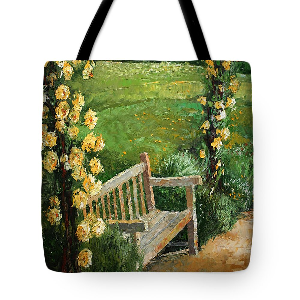 Oil Tote Bag featuring the painting Germany Baden-baden Rosengarten by Yuriy Shevchuk