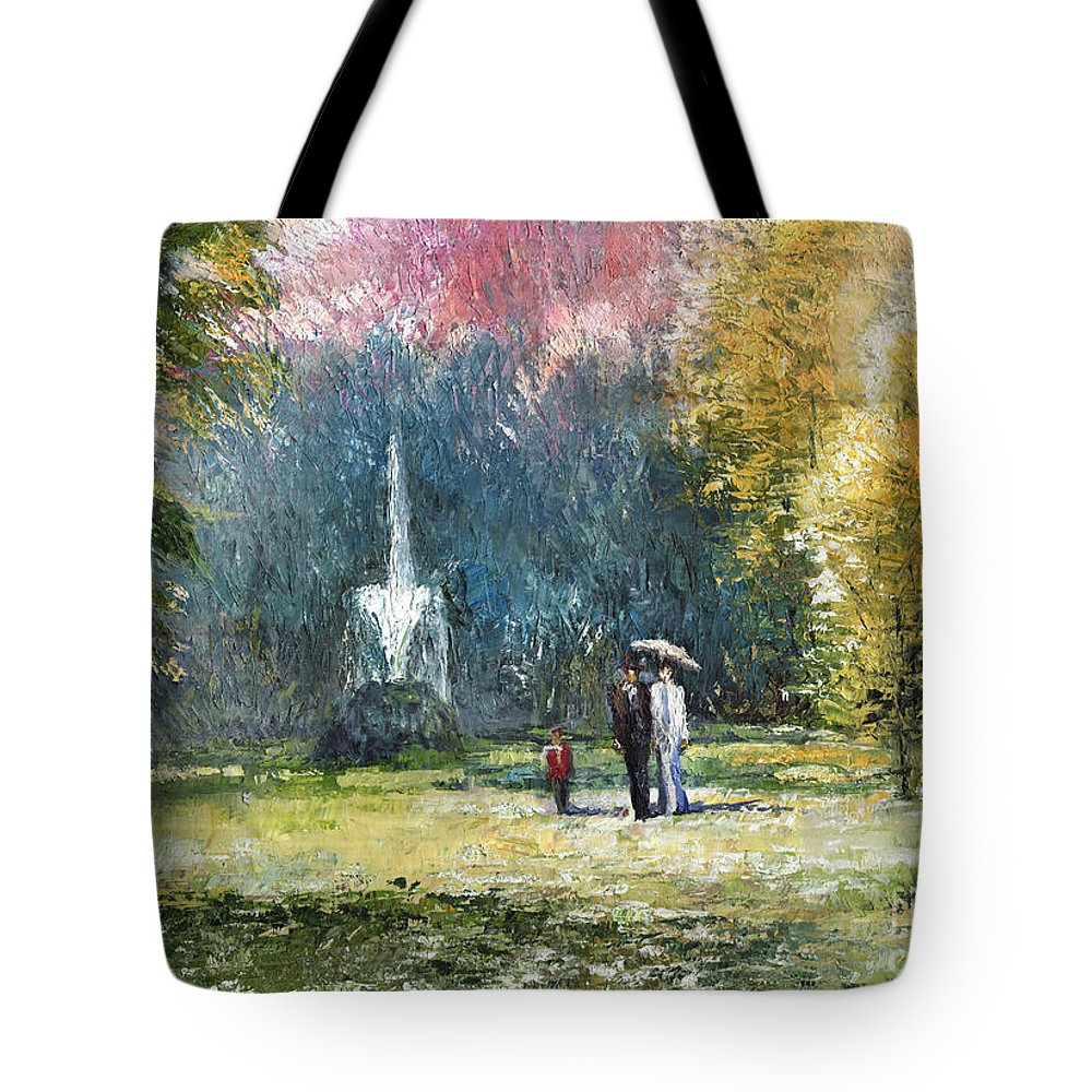 Oil Tote Bag featuring the painting Germany Baden-baden by Yuriy Shevchuk