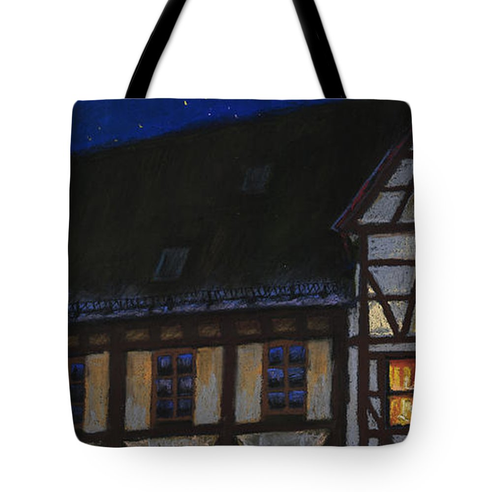 Pastel Tote Bag featuring the painting Germany Ulm Fischer Viertel Moonroofs by Yuriy Shevchuk