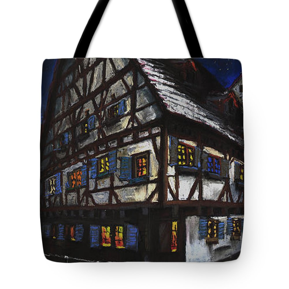 Pastel Tote Bag featuring the painting Germany Ulm Fischer Viertel Schwor-haus by Yuriy Shevchuk