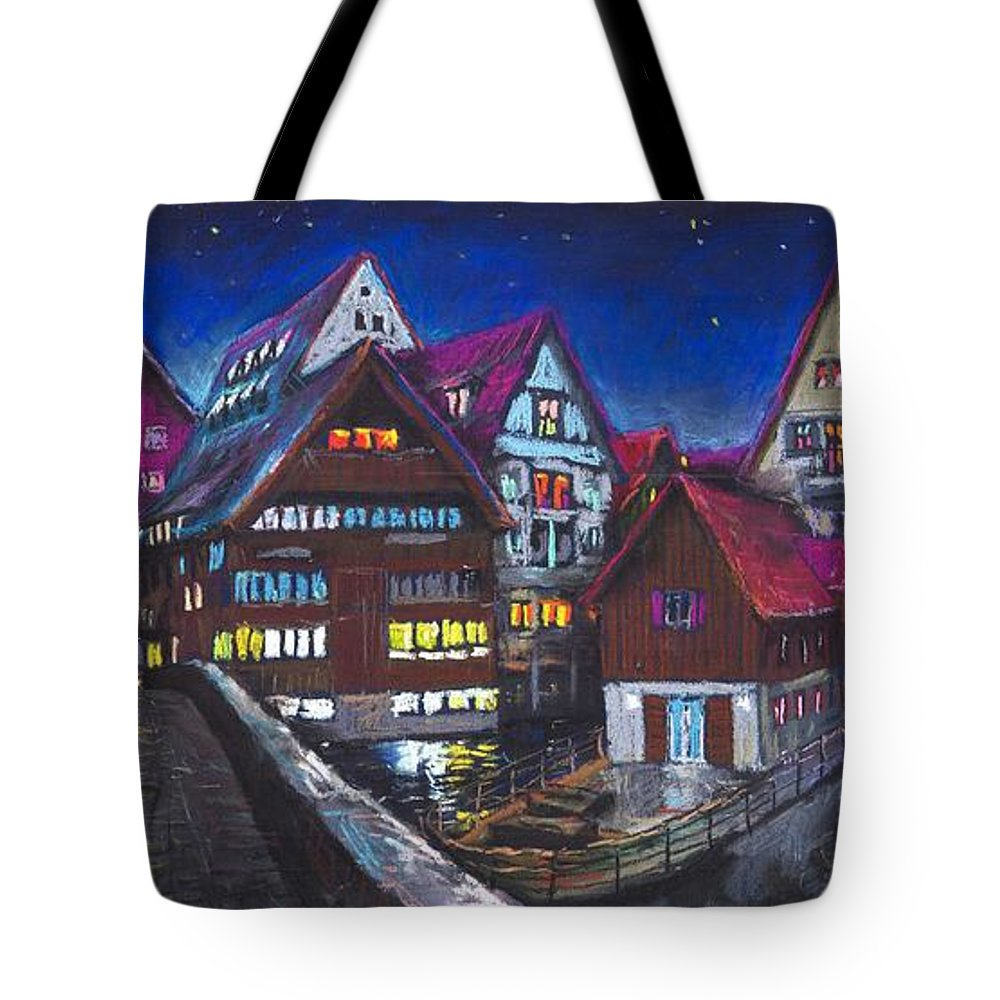 Pastel Tote Bag featuring the painting Germany Ulm Fischer Viertel by Yuriy Shevchuk