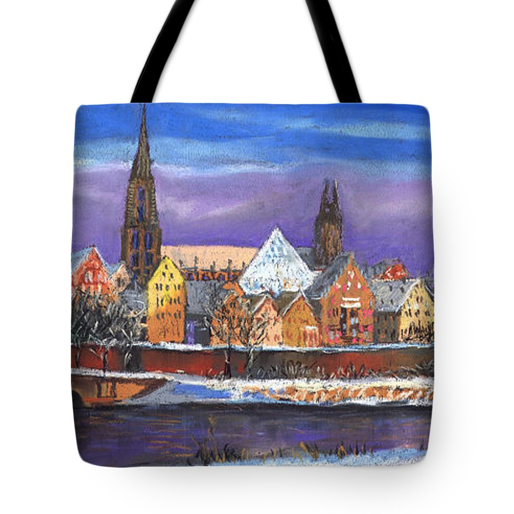 Pastel Tote Bag featuring the painting Germany Ulm Panorama Winter by Yuriy Shevchuk
