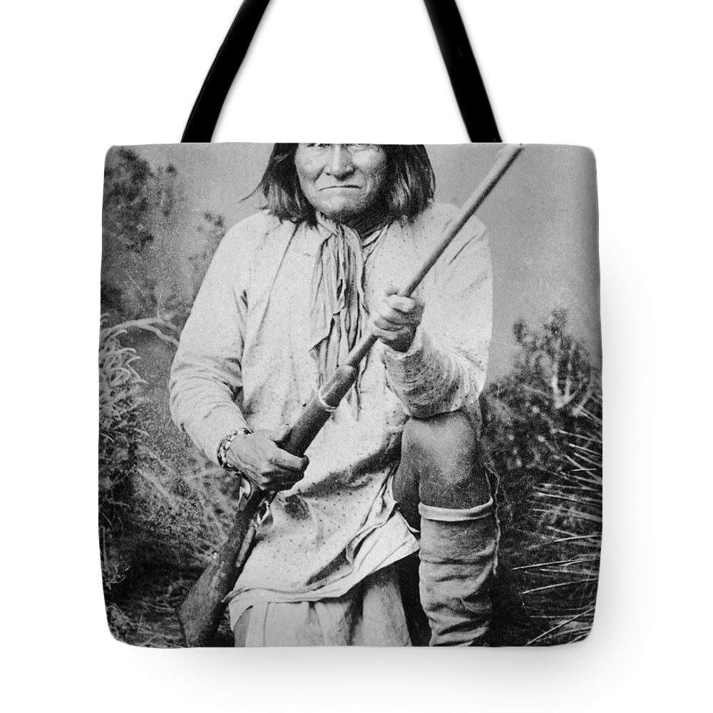 Geronimo Tote Bag featuring the photograph Geronimo Apache Indian Native American by Peter Nowell