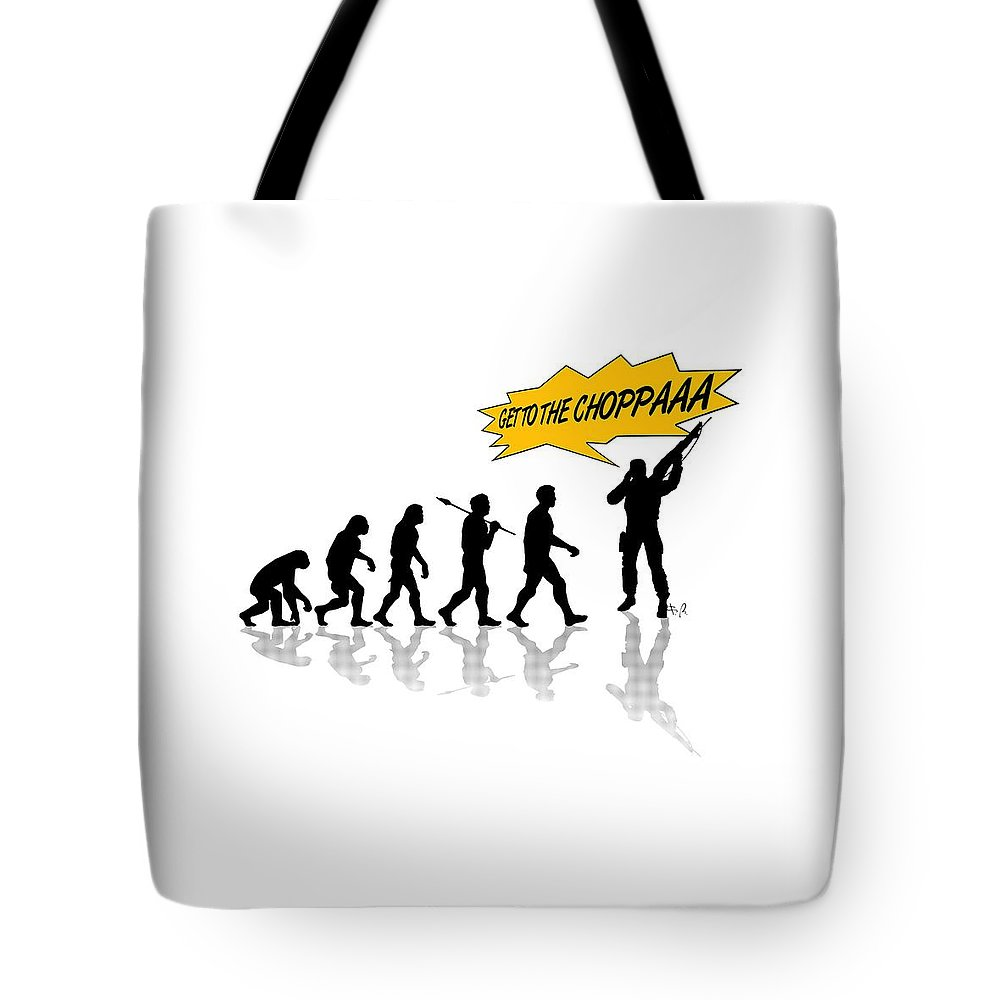 Run Tote Bag featuring the digital art Get To The Choppa by Filippo B