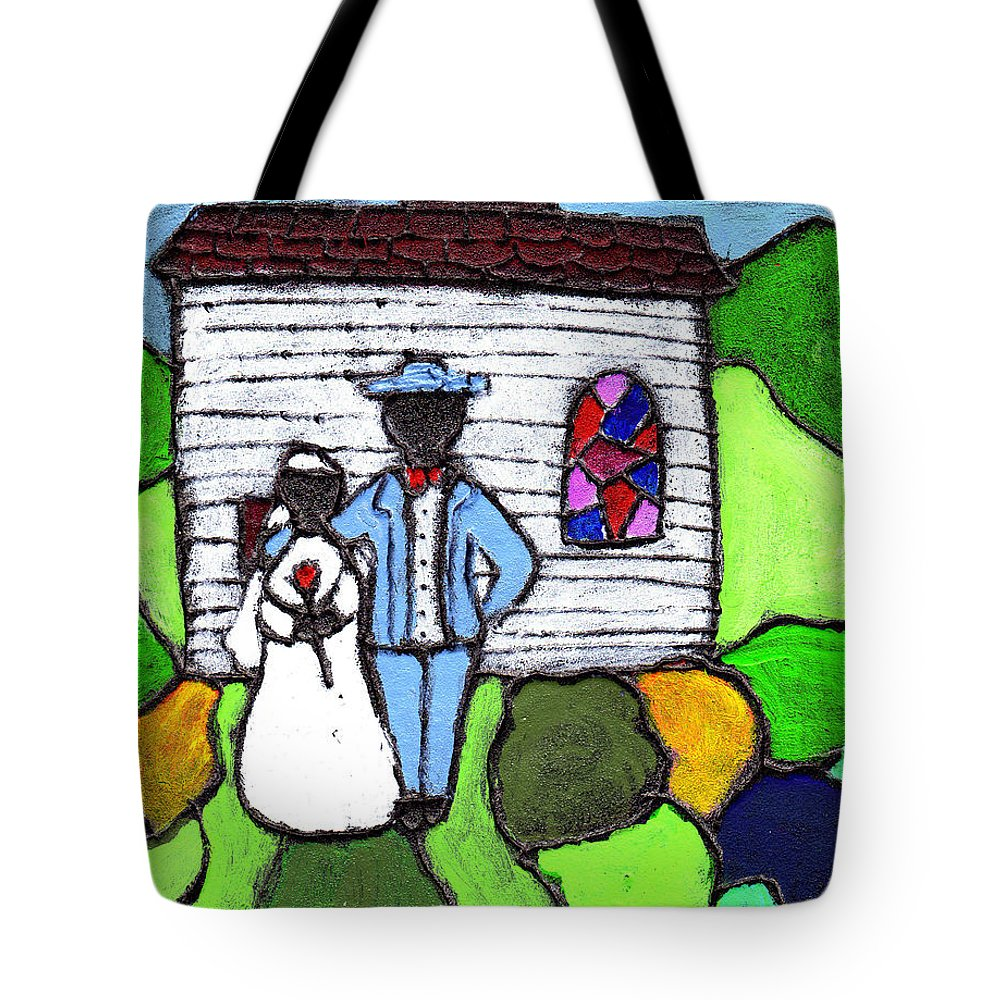 Folk Art Tote Bag featuring the painting Getting Married Today by Wayne Potrafka