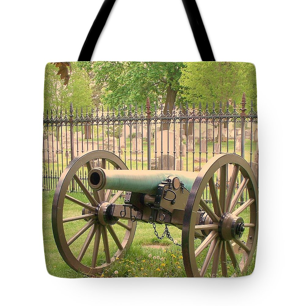 Gettysburgs Tote Bag featuring the painting Gettysburg Cannon Cemetery Hill by Eric Schiabor