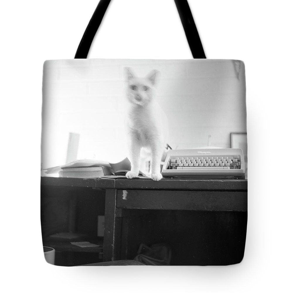 Cat Tote Bag featuring the photograph Ghost Cat, With Typewriter by Jeremy Butler