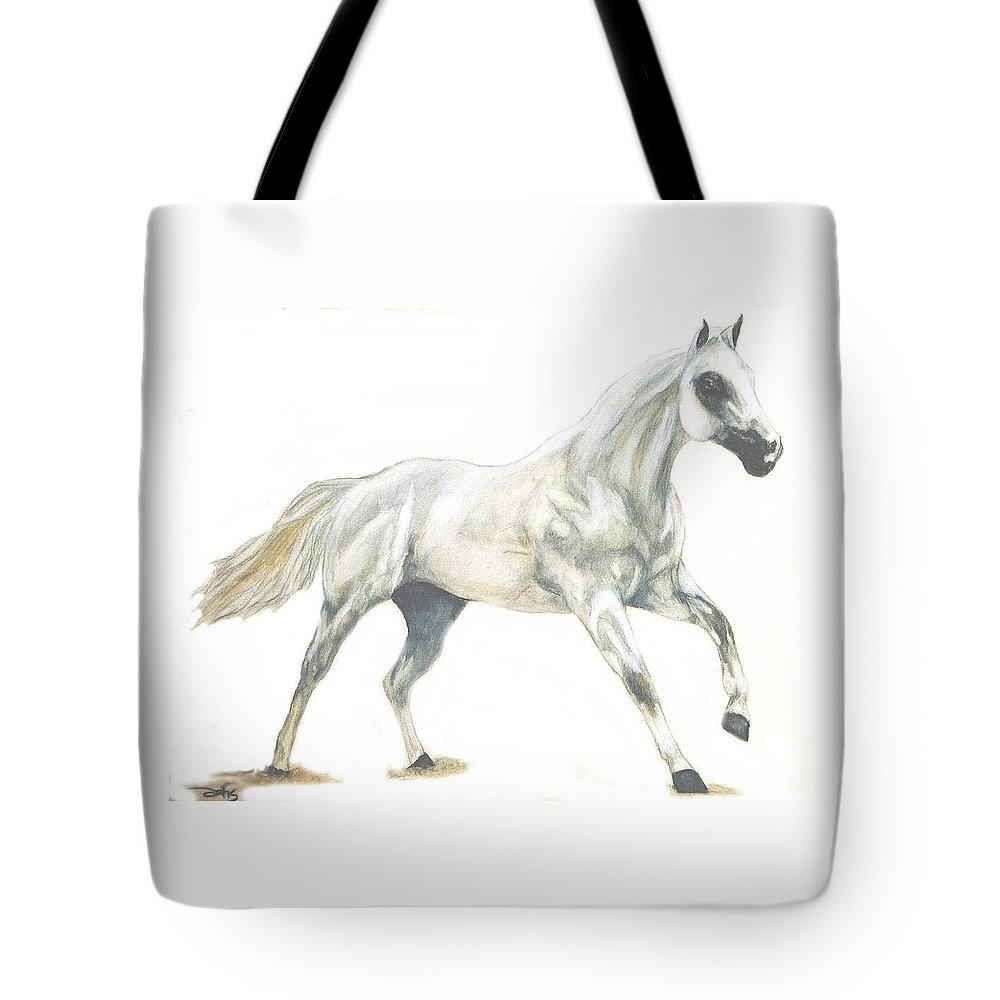 White Horse Tote Bag featuring the painting Ghost Horse by Debra Sandstrom