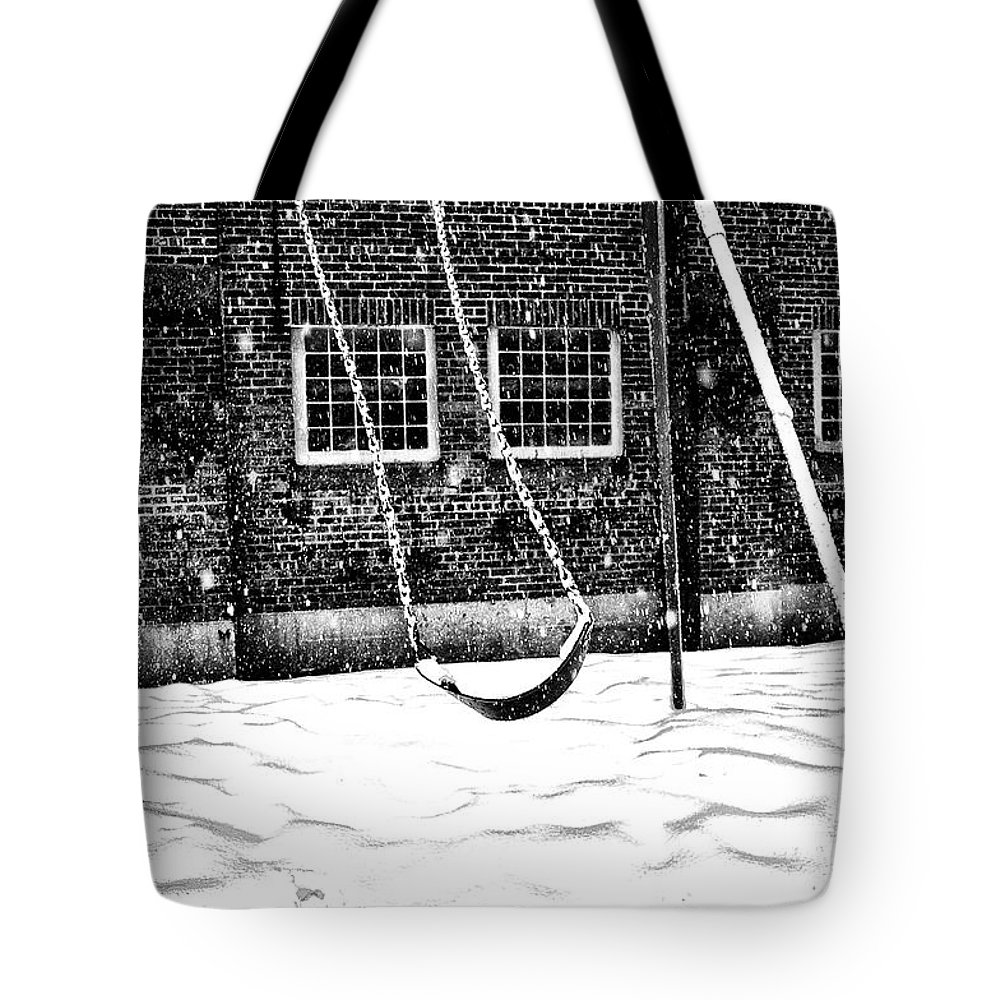Swing Tote Bag featuring the photograph Ghost On A Swing by Bill Cannon