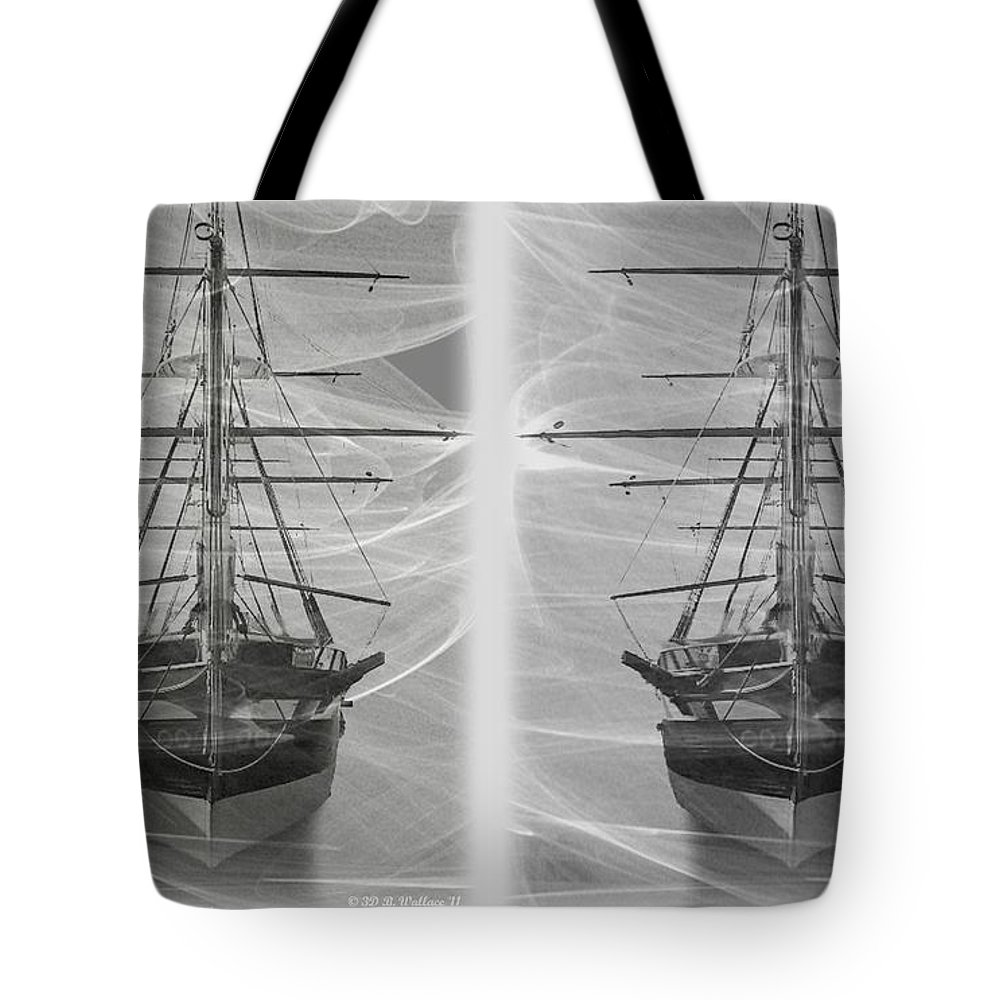 3d Tote Bag featuring the photograph Ghost Ship - Gently Cross Your Eyes And Focus On The Middle Image by Brian Wallace