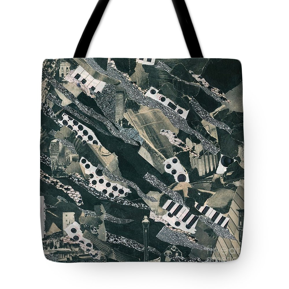 Black And White Tote Bag featuring the mixed media Ghosts by Daniel Watkins