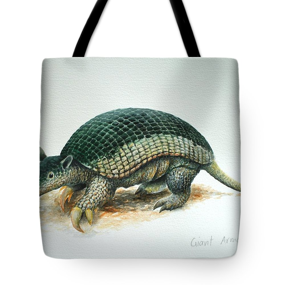 Giant Armadillo Tote Bag featuring the painting Giant Armadillo by Christopher Cox