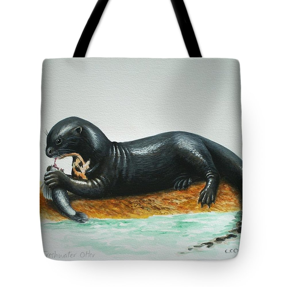 Giant River Otter Tote Bag featuring the painting Giant River Otter by Christopher Cox