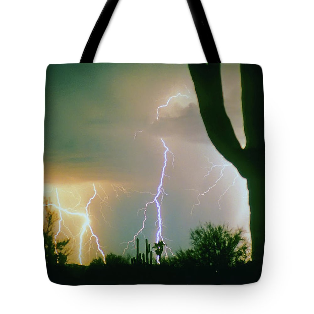 Lightning Tote Bag featuring the photograph Giant Saguaro Cactus Lightning Storm by James BO Insogna