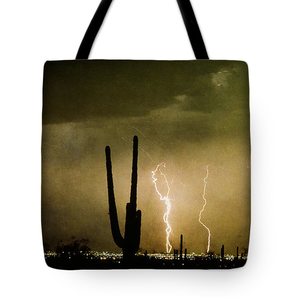 Lightning Tote Bag featuring the photograph Giant Saguaro Southwest Lightning Peace Out by James BO Insogna