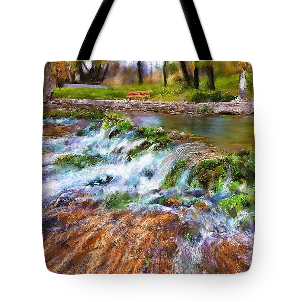 Giant Springs Tote Bag featuring the digital art Giant Springs 2 by Susan Kinney