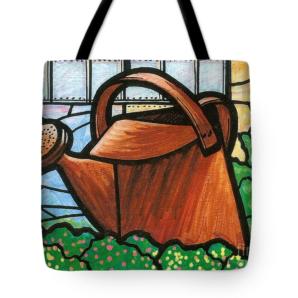 Gardening Tote Bag featuring the painting Giant Watering Can Staunton Landmark by Jim Harris