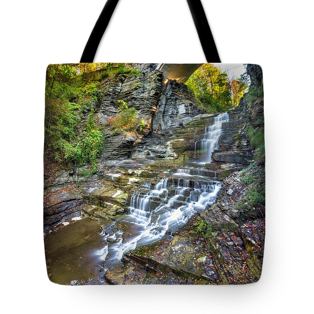 New York Tote Bag featuring the photograph Giant's Staircase Under College Avenue Bridge by Karen Jorstad