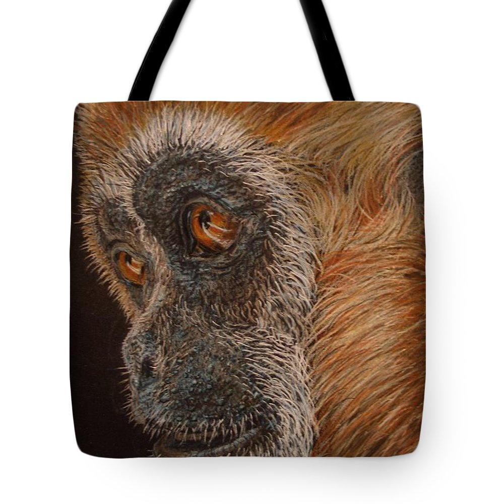 Animals Tote Bag featuring the drawing Gibbon by Karen Ilari