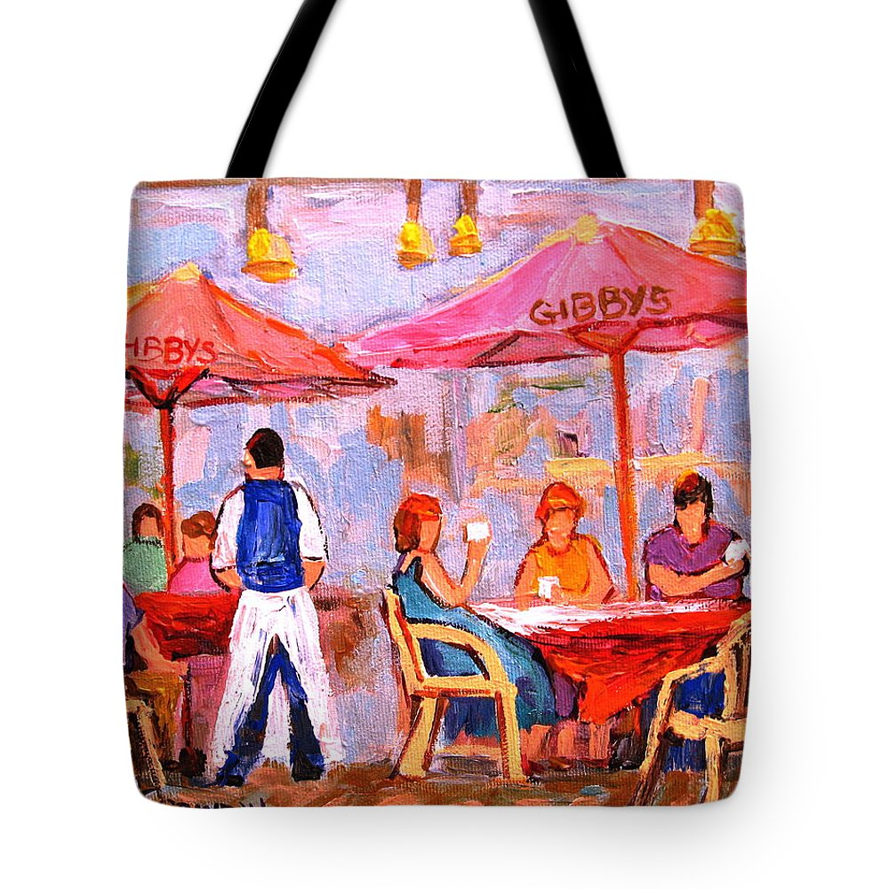Gibbys Restaurant Montreal Street Scenes Tote Bag featuring the painting Gibbys Cafe by Carole Spandau
