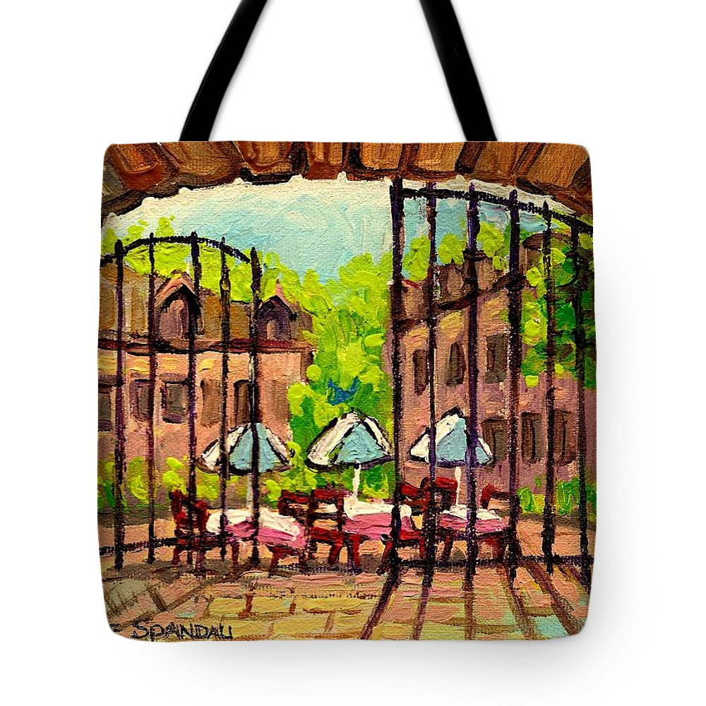 Gibbys Tote Bag featuring the painting Gibbys Restaurant In Old Montreal by Carole Spandau