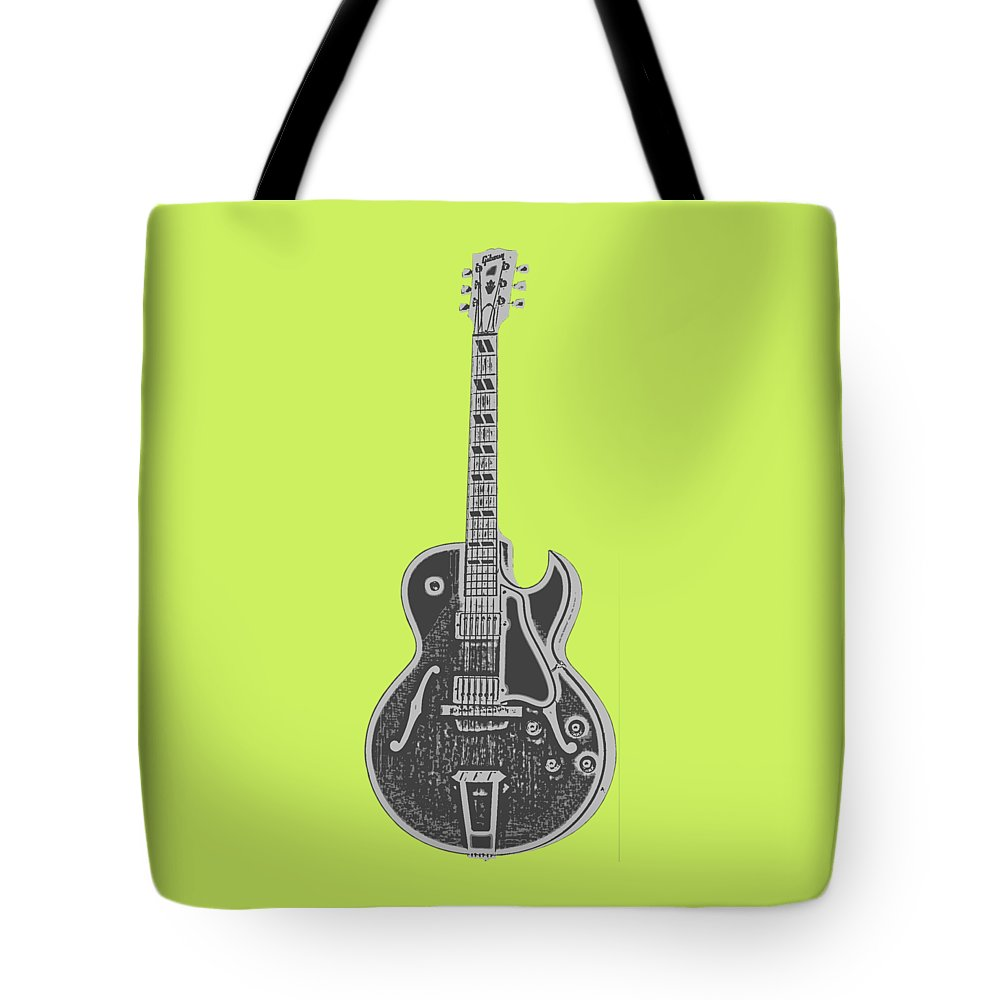 Instrument Tote Bag featuring the digital art Gibson Es-175 Electric Guitar Tee by Edward Fielding