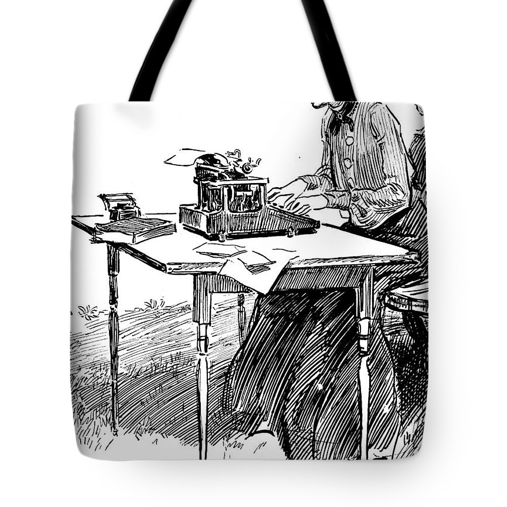19th Century Tote Bag featuring the photograph Gibson: Typing by Granger