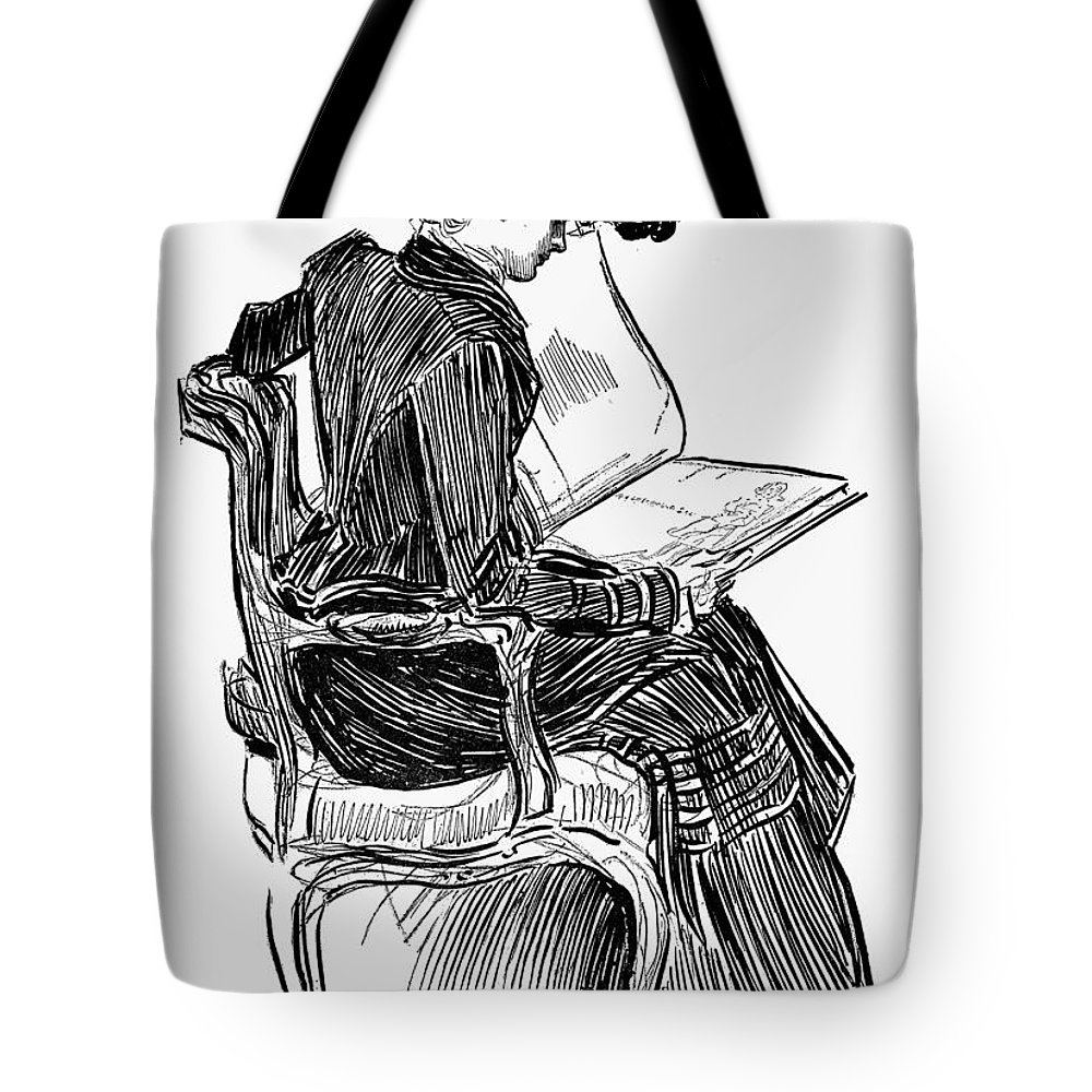 19th Century Tote Bag featuring the photograph Gibson: Woman Reading by Granger